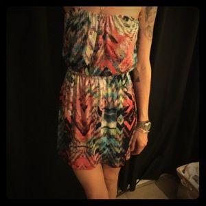Super Cute Loose multi colored Strapless Dress